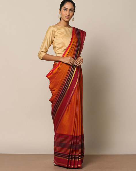 Cotton Saree With Striped Border By Indie Picks ( Brown )