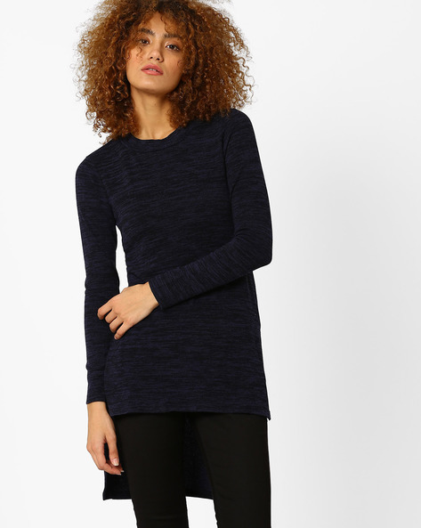 High-Low Heathered Sweater By Izabel London By Pantaloons ( Navy )
