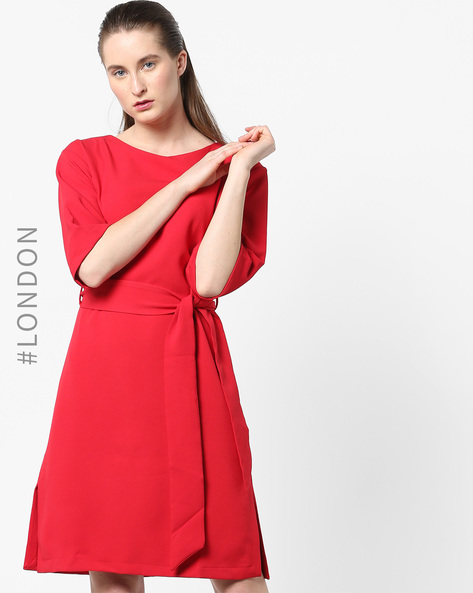 Tunic Dress With Waist Belt By Closet London ( Red )
