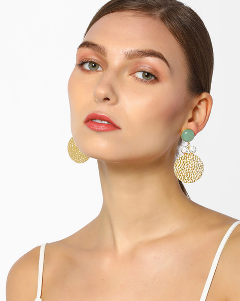 Handcrafted Drop Earrings With Howlite And Chalcedony Stones By Tvayaa Art ( Gold )