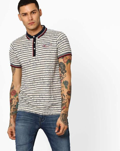 Striped Polo T-shirt By Fort Collins ( Orange )