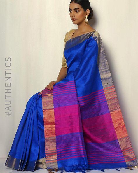 Pure Silk Dupion Handloom Saree With Zari Border By Pretty Woman ( Royalblue )