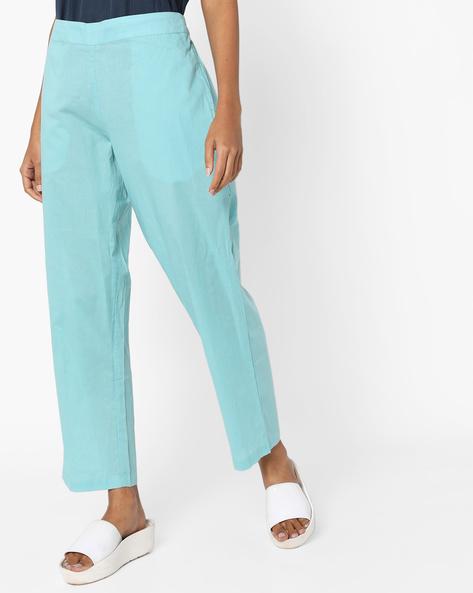 Mid-Rise Pants With Semi-Elasticated Waist By AJIO ( Aqua )
