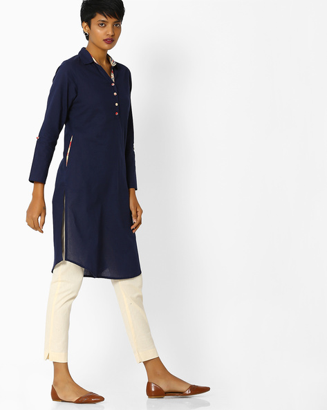Collared Straight Kurta With Button Placket By Jaipur Kurti ( Blue )
