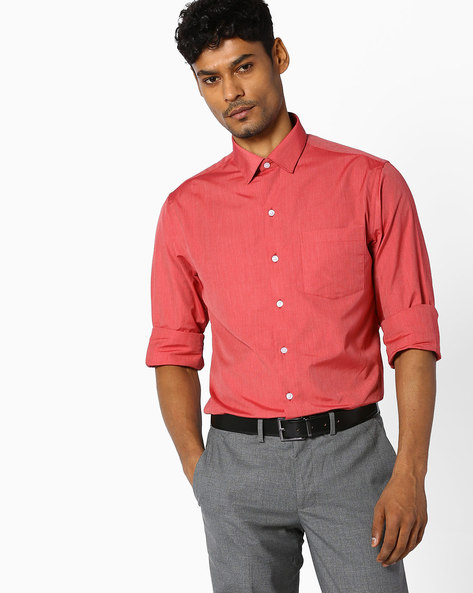 Slim Fit Cotton Shirt By JOHN PLAYERS ( Red )