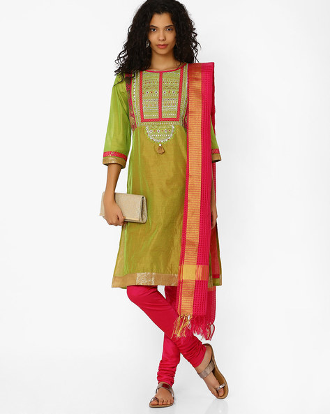 Chanderi Churidar Kurta With Dupatta By AVAASA SET ( Green )