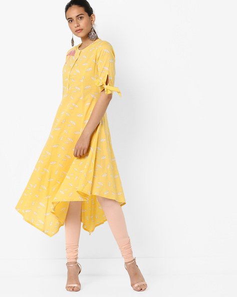 Printed Flared Kurta With Handkerchief Hem By AJIO ( Yellow )
