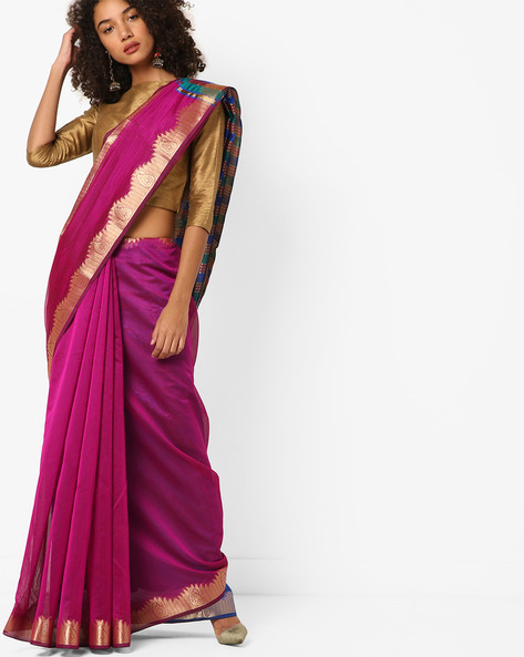 Woven Saree With Zari Border By Florence ( Pink )