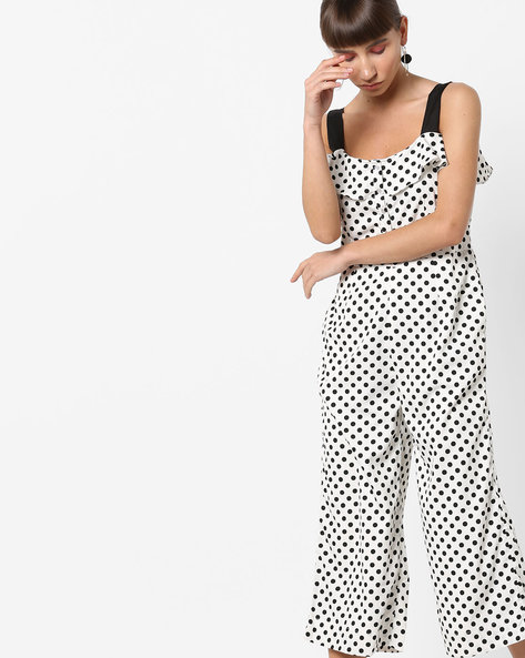 Strappy Polka-Dot Print Jumpsuit By AJIO ( Offwhite )