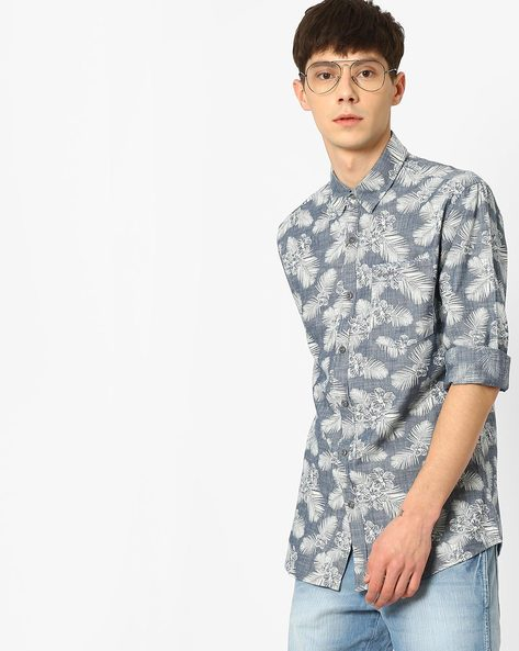 Tropical Print Yarn-Dyed Cotton Shirt By WRANGLER ( Blue )