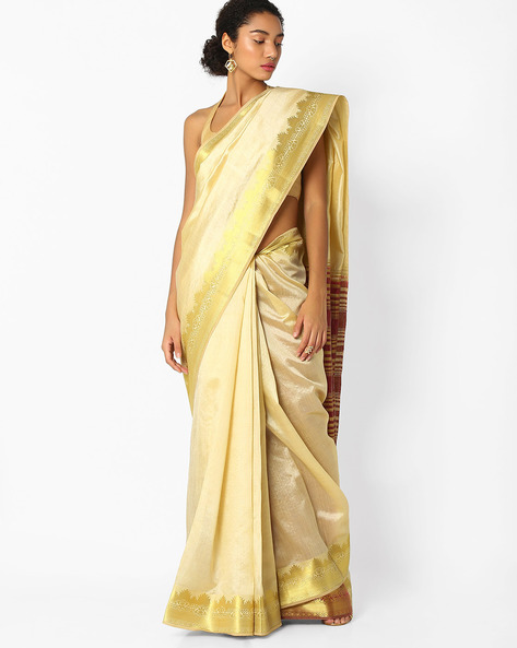 Saree With Floral Zari Border By Amori ( Offwhite )