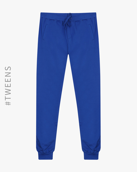 French Terry Joggers With Elasticated Waistband By AJIO ( Blue )