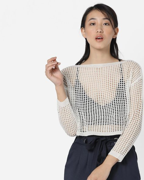 Crochet Pullover With Eyelets By Ginger By Lifestyle ( Offwhite )