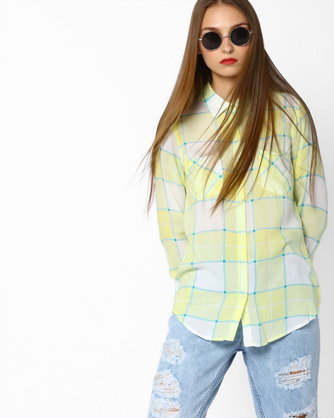 Checked Shirt With Patch Pockets By Fame Forever By Lifestyle ( Yellow )