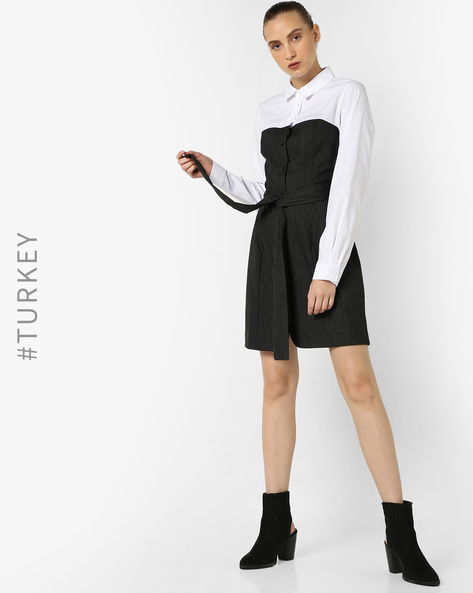Colourblock Dress With Waist Tie-Up By TRENDYOL ( White )