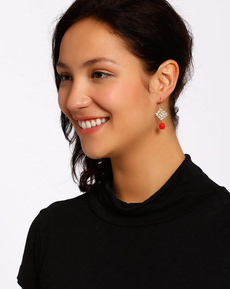 Gold-Plated Dangler Earrings By Shabnam Gitanjali ( Red ) - 460012304001