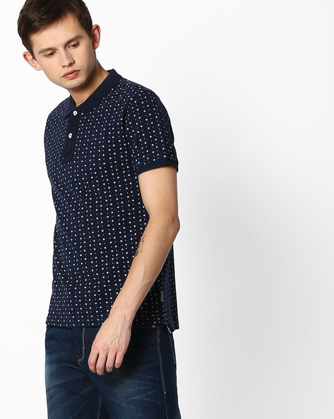 Printed Polo T-shirt By FLYING MACHINE ( Navy ) - 440684492002