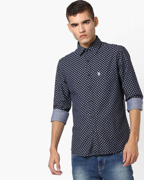 Polka-Dot Print Cotton Shirt By US POLO ( Blue )