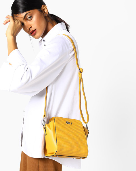 Textured Sling Bag By E2O ( Yellow )