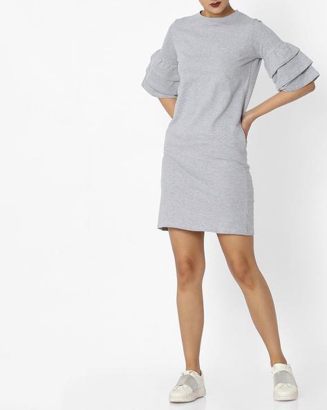 Dress With Ruffled Sleeves By Evah London ( Greymelange )