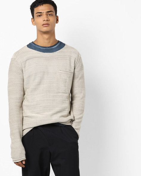 Pullover With Patch Pocket By Jack & Jones ( Grey )