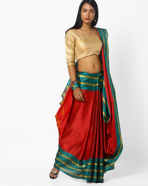 Saree With Colourblock Border By CHHABRA 555 ( Red )