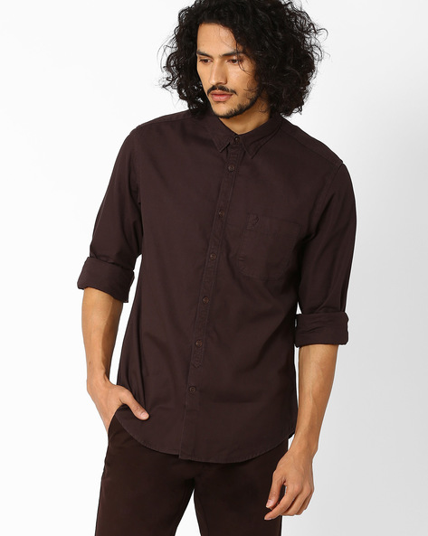 Regular Fit Shirt With Patch Pocket By INDIAN TERRAIN ( Brown )
