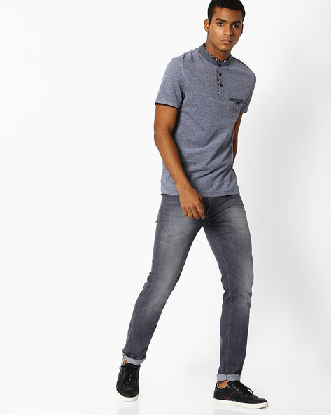Slim Fit T-shirt With Contrast Collar By Celio ( Navyblue )