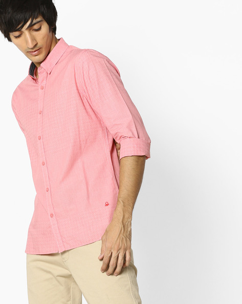 Polka-Dot Print Shirt By UNITED COLORS OF BENETTON ( Pink )