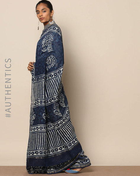 Handblock Indigo Print Chanderi Saree With Zari By Indie Picks ( Indigo ) - 460146811001