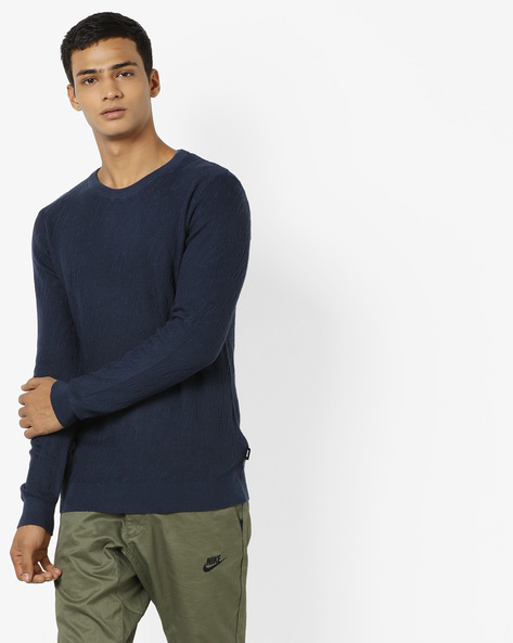 Crew-Neck Pullover With Full Sleeves By Jack & Jones ( Blue )