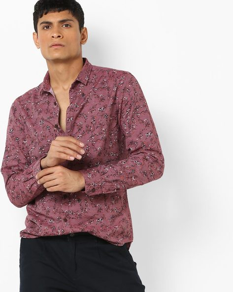 All-Over Floral Print Shirt By AJIO ( Maroon )