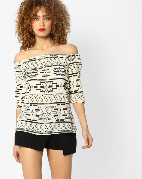 Printed Off-Shoulder Top By BOSSINI ( White )