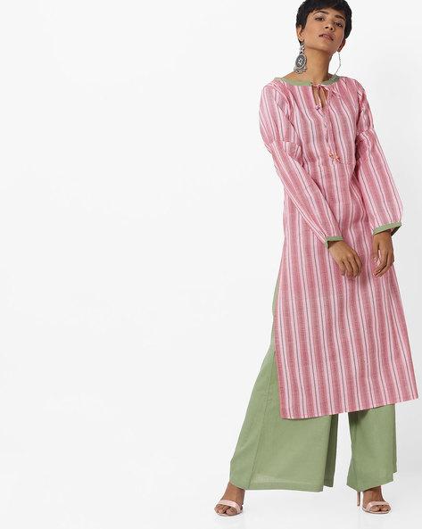 Striped Straight Kurta With Keyhole Neckline By Indusdiva ( Pink )