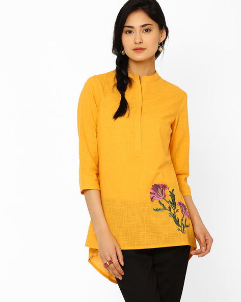 High-Low Tunic With Mandarin Collar By AJIO ( Yellow )