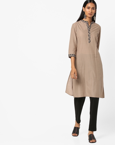 Cotton Kurta With Printed Notched Collar By AJIO ( Grey )