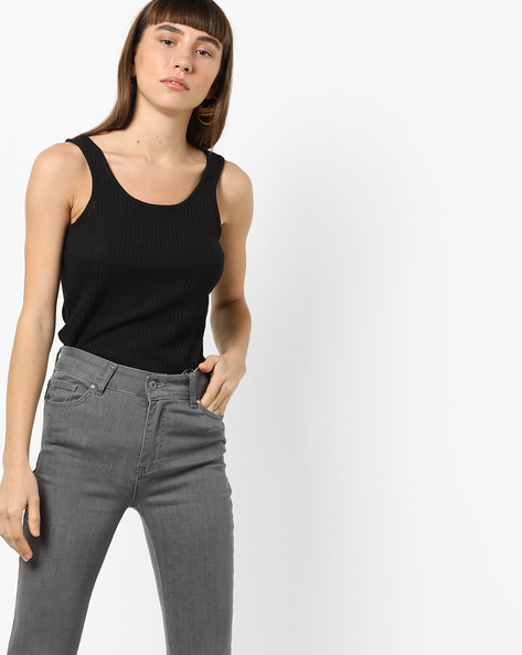 Ribbed Sleeveless Top By Vero Moda ( Black )