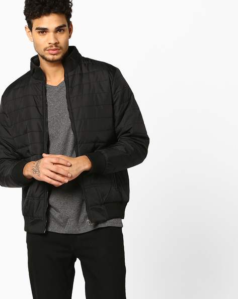 Slim Puffer Jacket With Front Zipper By Nature Casuals ( Black )