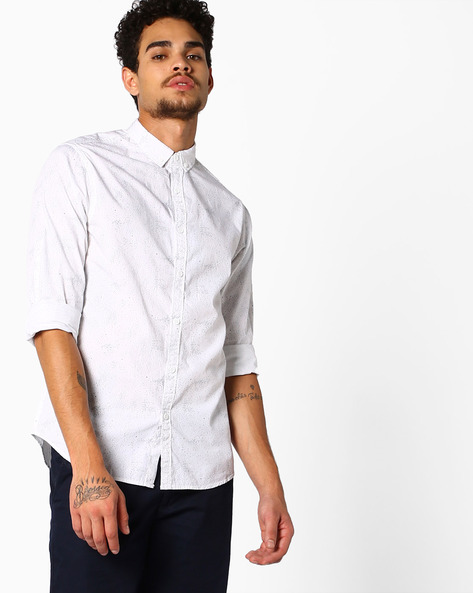 All-Over Print Slim Fit Shirt By AJIO ( White )