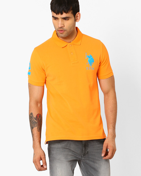 Slim-Fit Polo T-shirt By US POLO ( Brown )