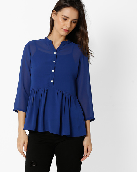 Peplum-Style Top With Gathers By And ( Navy )