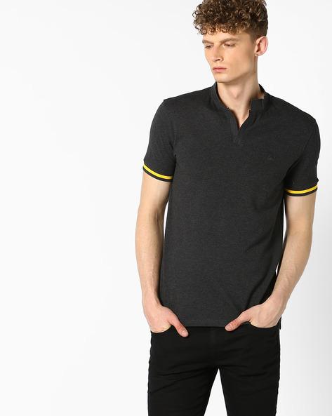 Pique Knit Cotton T-shirt By UNITED COLORS OF BENETTON ( Black )