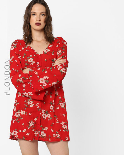 Floral Print A-line Dress With Flared Sleeves By Glamorous ( Red )