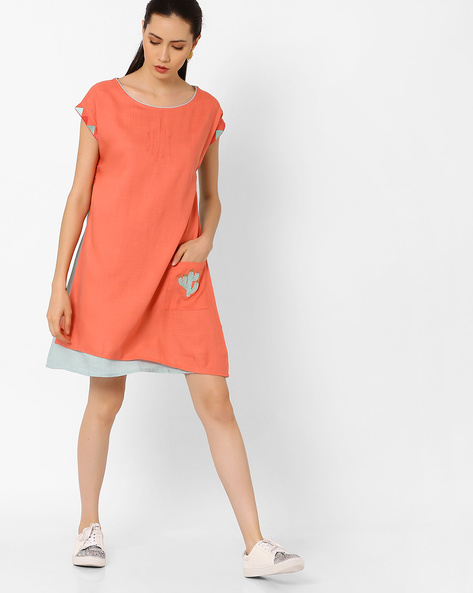 Colourblock Layered Tunic With Embroidery By AJIO ( Pink )