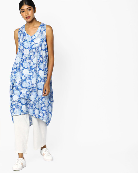 Floral Print High-Low Kurta By AJIO ( Blue )