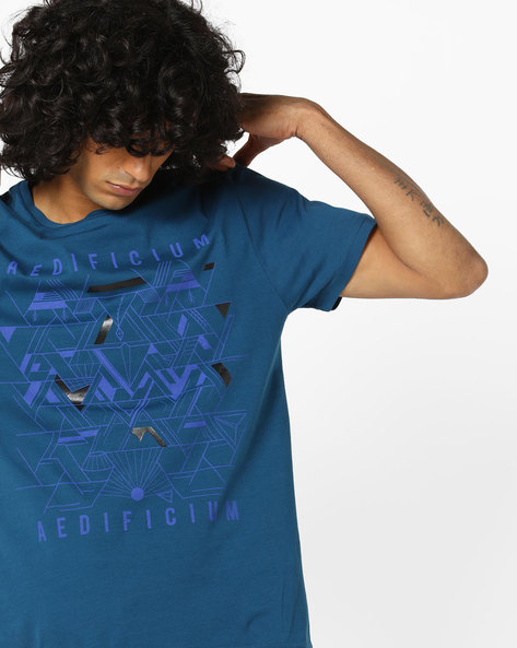 Geometric Print T-shirt By AJIO ( Blue )