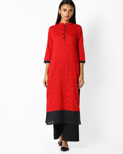 Straight Kurta With Self-Design By Jaipur Kurti ( Red )