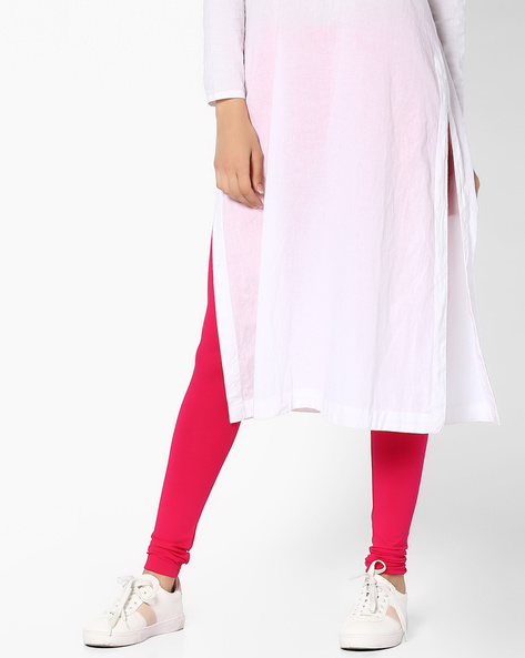 Leggings With Elasticated Waistband By Global Desi ( Pink )