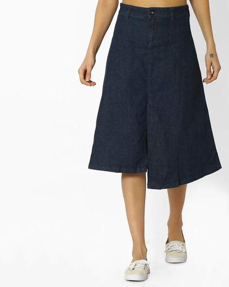 A-line Skirt With Asymmetrical Hem By Blue Saint ( Green )