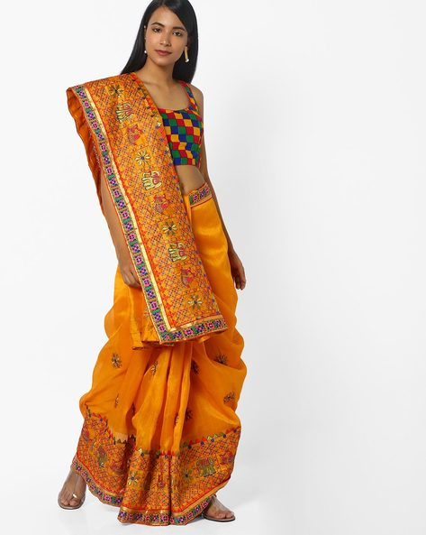 Embroidered Saree With Contrast Taping By CHHABRA 555 ( Yellow )